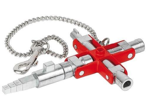 """Knipex Universal-Schlüssel """"Bau"""" für gängige Schränke und Absperrsysteme 90 mm"""