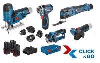 Bosch 5er Werkzeug-Set 12V: GSR + GOP + GHO + GWS + GST +...